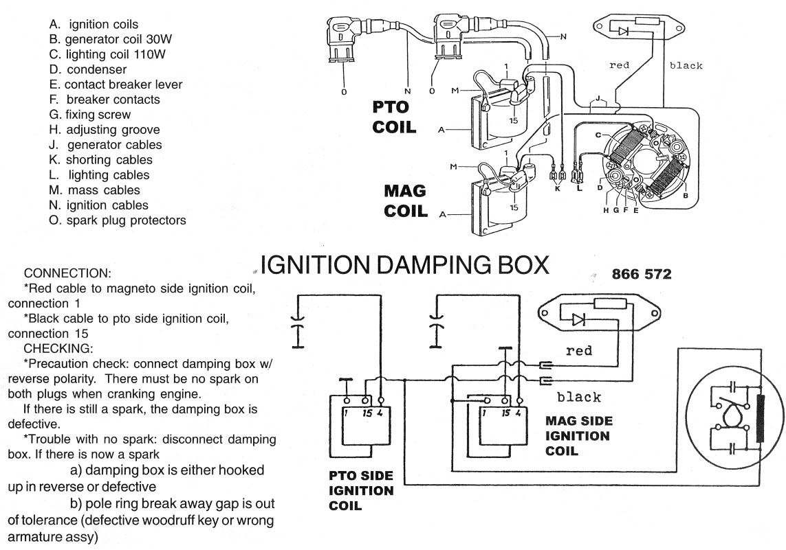 Rotax 377, Rotax 447, Rotax 503 Bosch points ignition wiring diagram