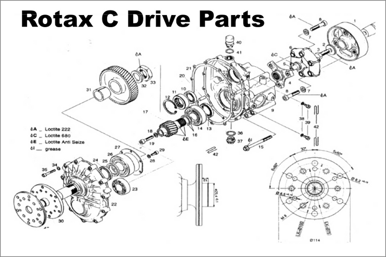 rotax c gear drive box parts diagram  and parts number listing