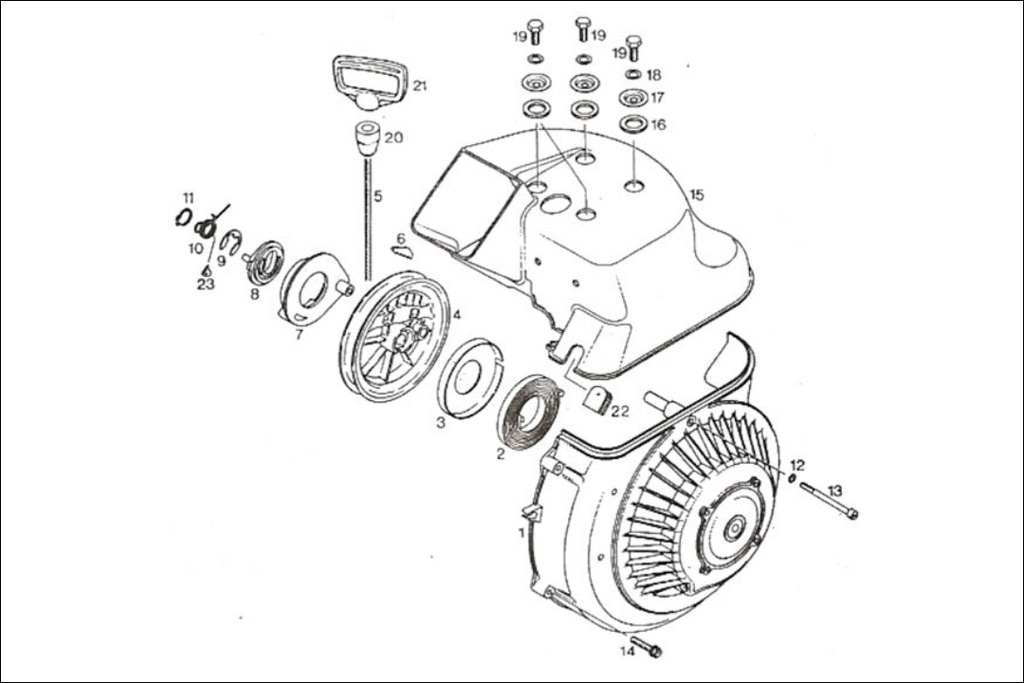 Rotax 277 fan cowl and rewind starter parts – Rotax Engine Parts Diagram