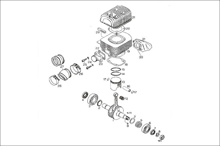 rotax 277 crankshaft  cylinder  and intake manifold