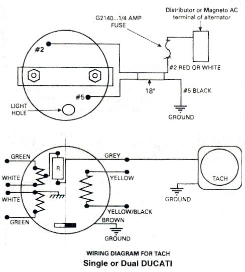 Ducati tachometer, Ducati ignitionwiring diagram for Rotax 447, 503, 582,  618 aircraft engines.Rotax Aircraft